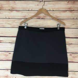 Ann Taylor LOFT Colorblocked Skirt Gray Black 12
